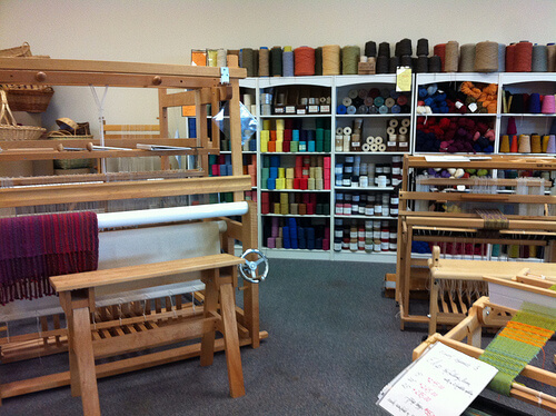 Shuttles, Spindles and Skeins -- loom room
