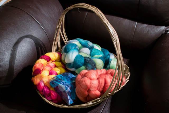 Storing fibre in baskets (photo by Grace Verhagen)