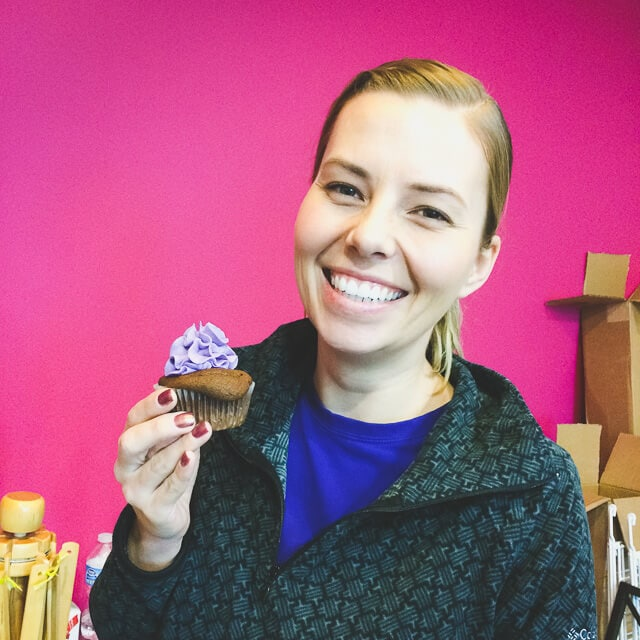 Happy birthday Ashley! with vegan chocolate cupcakes with grape-flavoured icing...