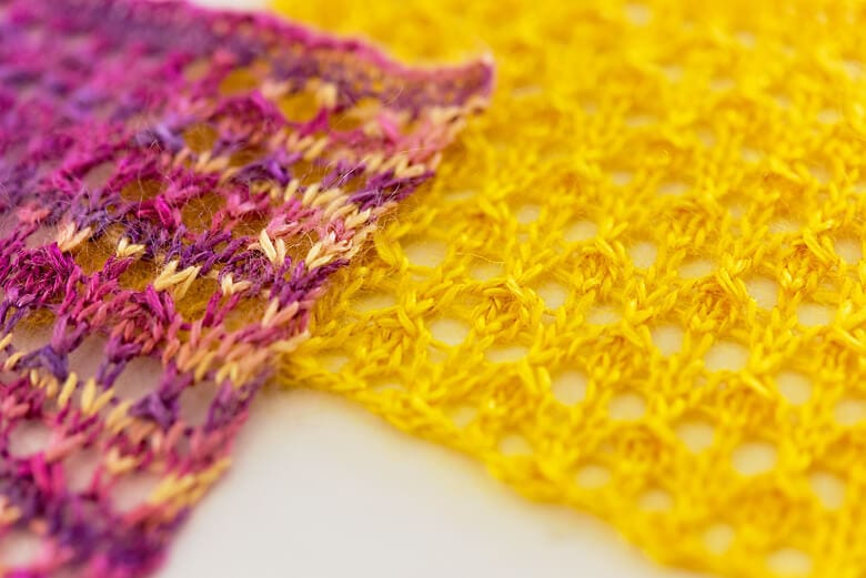 Colourful Playful Stitches. Silk Fog in Saffron and Honey Fig. Free lace stitch pattern.
