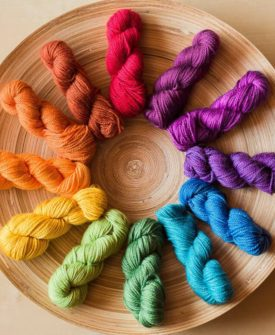 """Prismatic """"Essential Colour"""" Mini-Mini Yarn Set: This set contains 12 colours of Tough Love Sock, each approximately 50-52 yards for a total of at least 600 yards"""