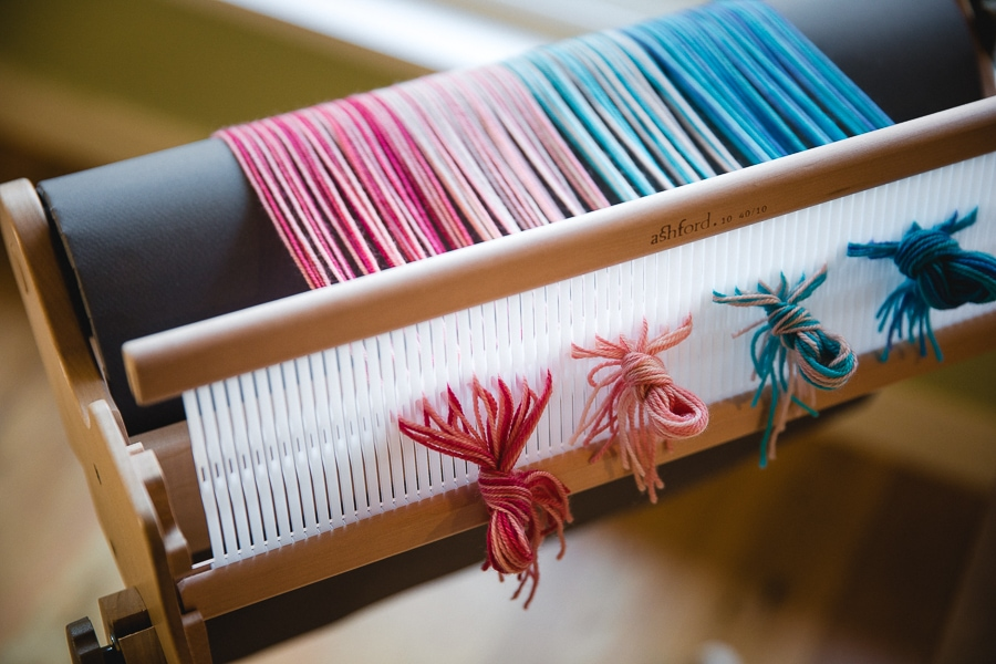 "Ashford Sample It 16"" loom with SweetGeorgia Party of Five in Escape"