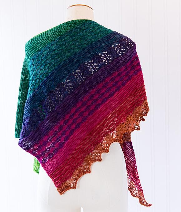 Symphony shawl pattern by Tabetha Hedrick knit in SweetGeorgia Holiday Symphony Kit