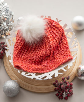 Holiday 2019 Eliora crochet hat pattern by Charlotte Lee knit in SweetGeorgia Mohair Silk DK