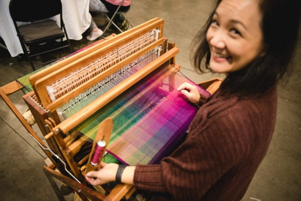 Weaving demonstration by Felicia Lo on the Schacht Baby Wolf at Knit City 2019