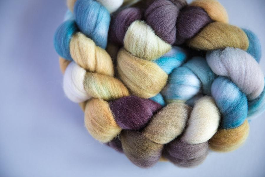 SweetGeorgia exclusive colourway Tofino Roadtrip Targhee spinning fibre