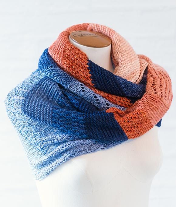 Midnight Bellini by Tabetha Hedrick knit in SweetGeorgia Mini Colour Fade mini-skein sets