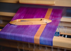 Weaving Hand-Dyed Cotton Warp on the Louet Spring Loom