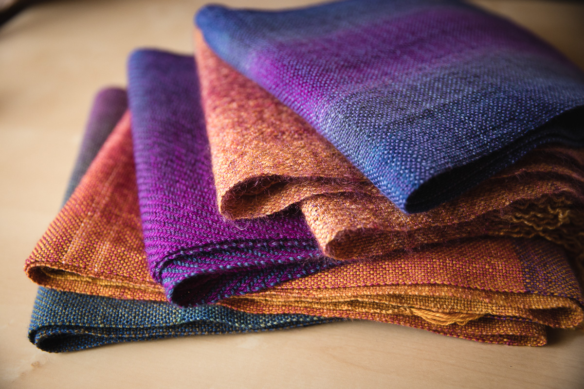 All five handwoven sock blank scarves