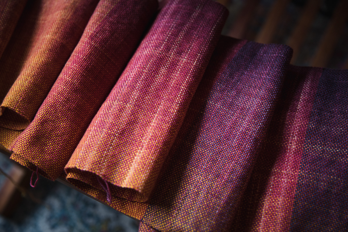 Handwoven Scarf using hand-dyed sock blanks