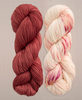 Breathe and Hope Sets of Knitting Yarn in Desert Clay and Rose Day