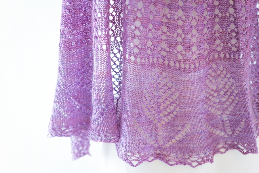 Close up detail of lace flowers in Evening Fields lace shawl pattern