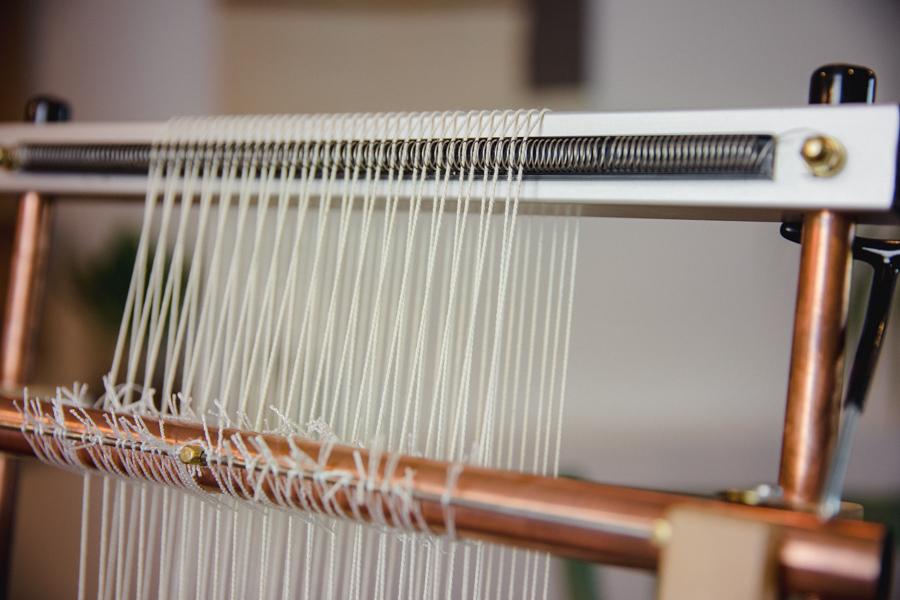 Warp threads on Mirrix Loom