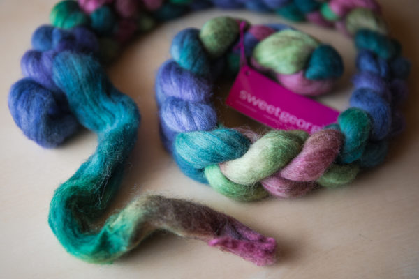 """Polwarth+Silk Spinning Fibre in """"Rocky Mountain Meadow"""" colourway"""