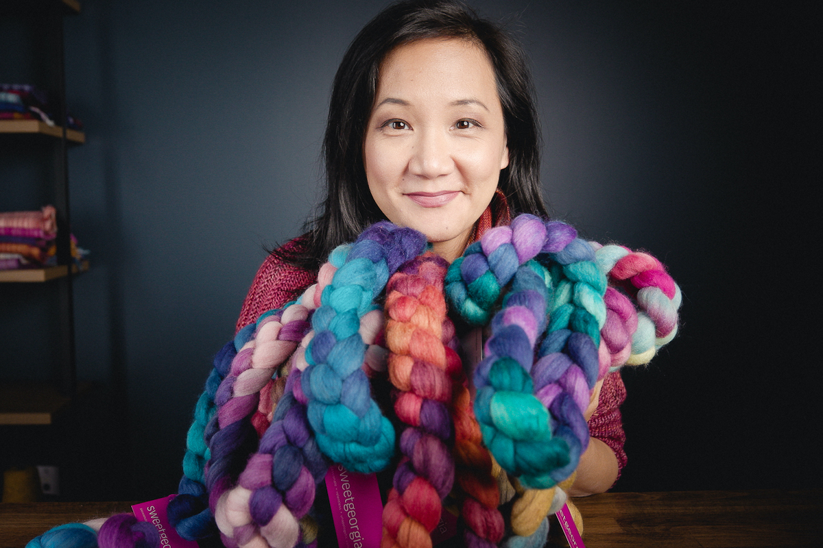 Felicia Lo Wong sharing new SweetGeorgia handpainted hand-dyed spinning fibre