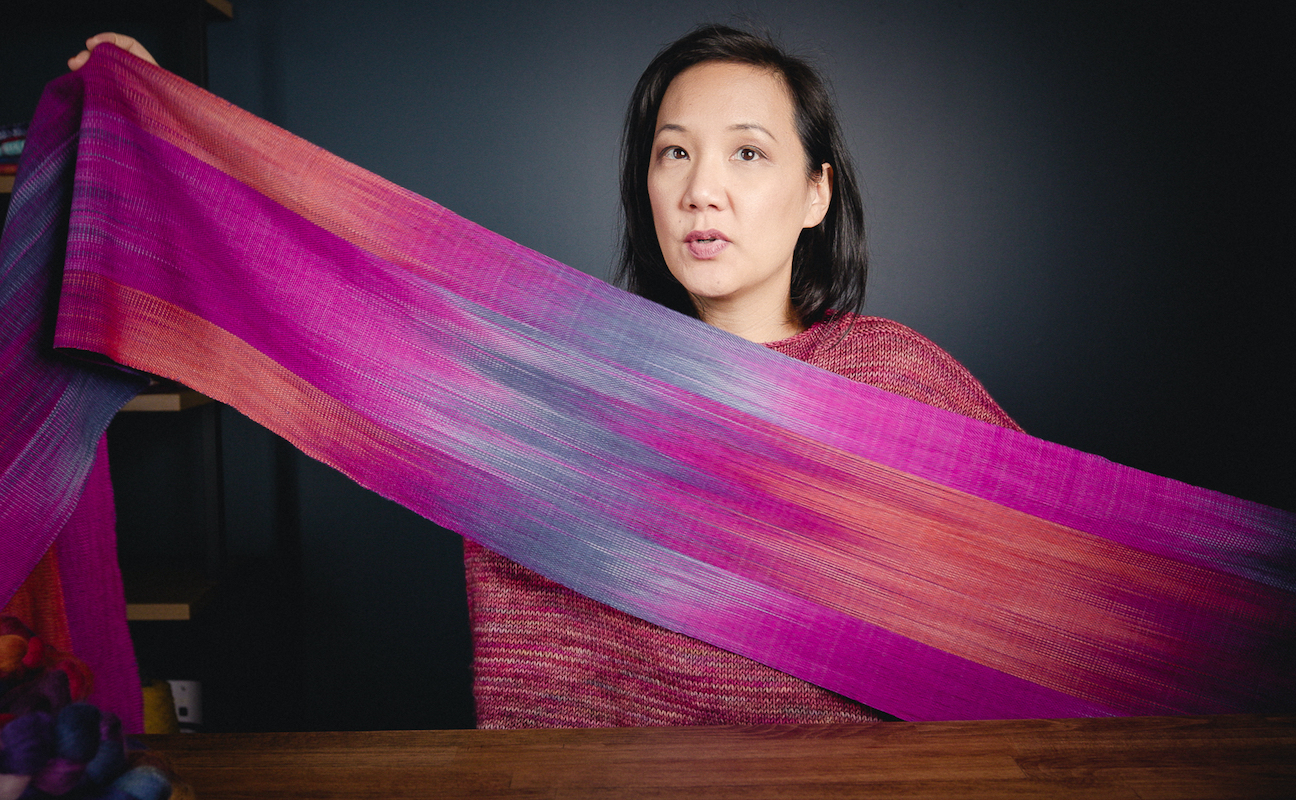 Lighthouse Faux Ikat Scarf design and handwoven by Felicia Lo Wong