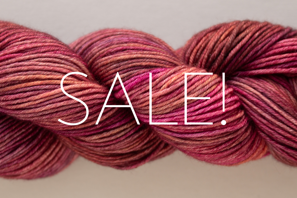 SweetGeorgia Black Friday hand-dyed knitting yarn sale featuring Mohair Silk DK in Strawberry Tea