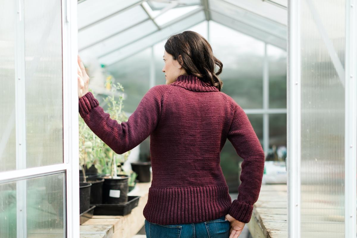 SweetGeorgia Presanella knit sweater pattern by Kristen TenDyke
