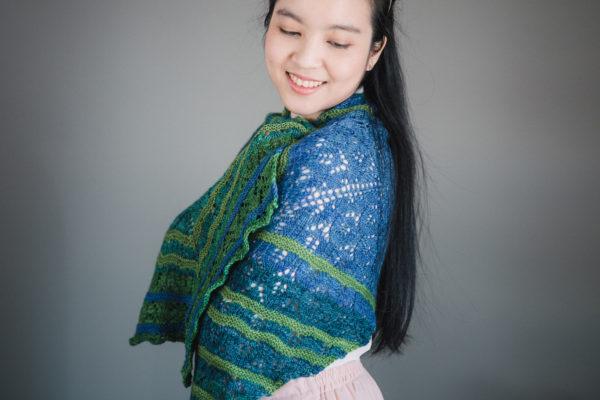 Blue Sunset shawl knitting pattern designed by Tabetha Hedrick, from SweetGeorgia Yarns