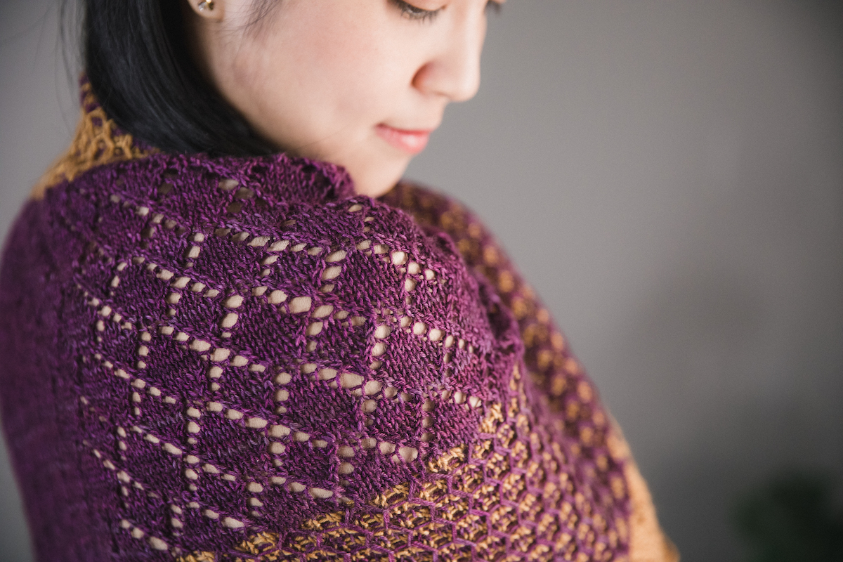 Niabell shawl knitting pattern from SweetGeorgia Spring Vol. 6 Collection, designed by Tabetha Hedrick