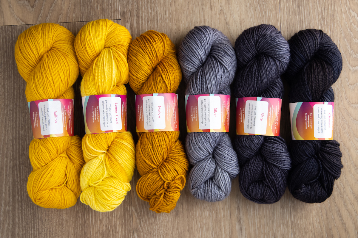 SweetGeorgia hand-dyed yarns in yellow and grey colours, grellow