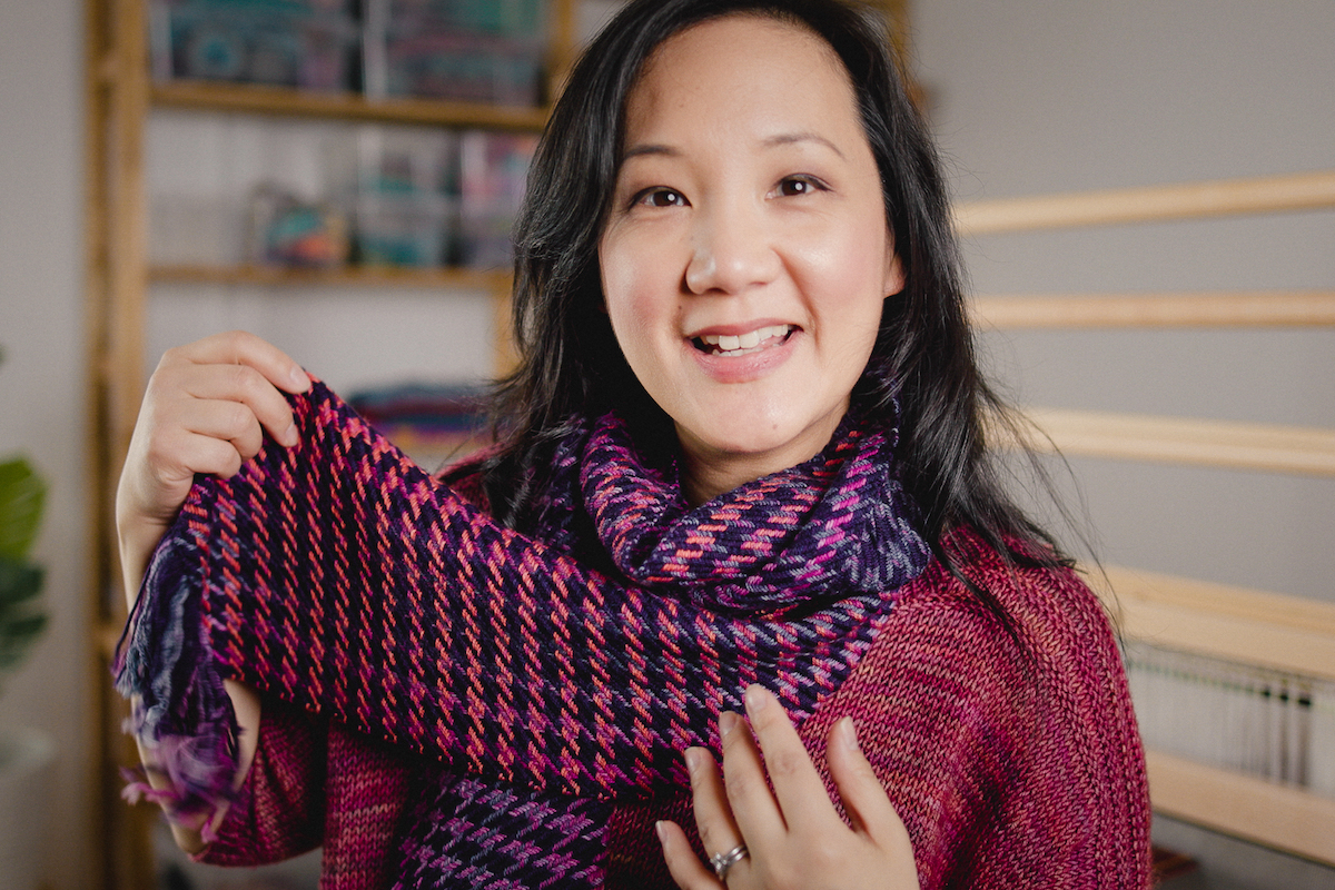 Houndstooth handwoven scarf design by Felicia Lo Wong, knit in SweetGeorgia yarn