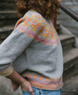 Rosehip colourwork knitting pattern designed by Anna Johanna