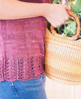 Mirim Tee knitting pattern designed by Tabetha Hedrick knit in SweetGeorgia Flaxen Silk yarn