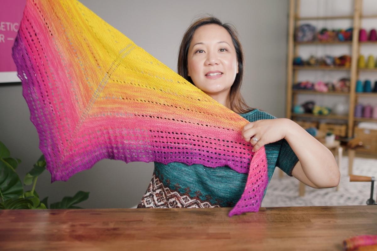 Summer Dusk SweetGeorgia sock blank knit into the Summer Brights shawl pattern on Felicia's Taking Back Friday vlog