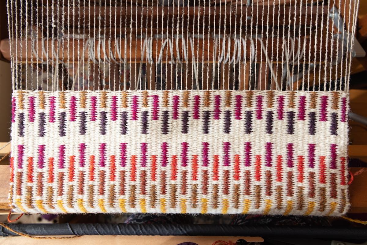 Krokbragd Norwegian weaving project in-progress by Felicia Lo Wong