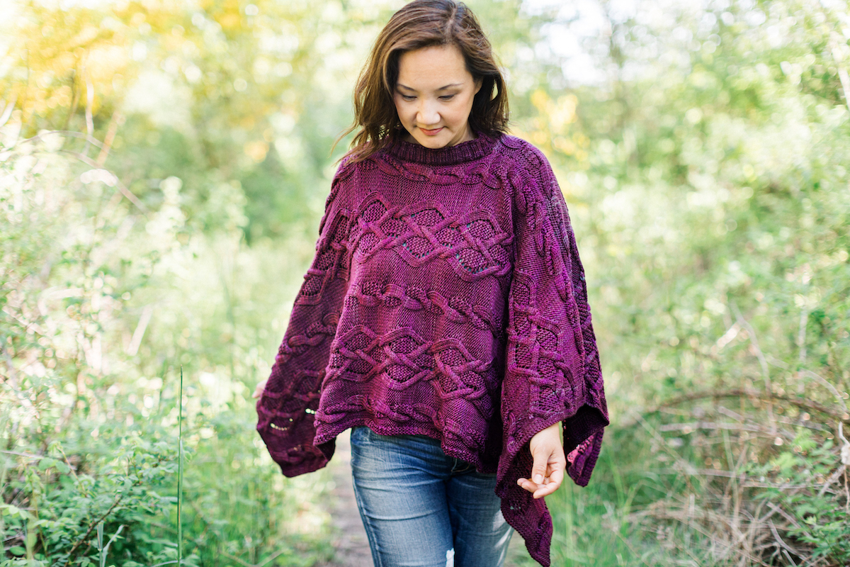 Tabetha Poncho knitting pattern by Tanis Gray for SweetGeorgia Autumn collection