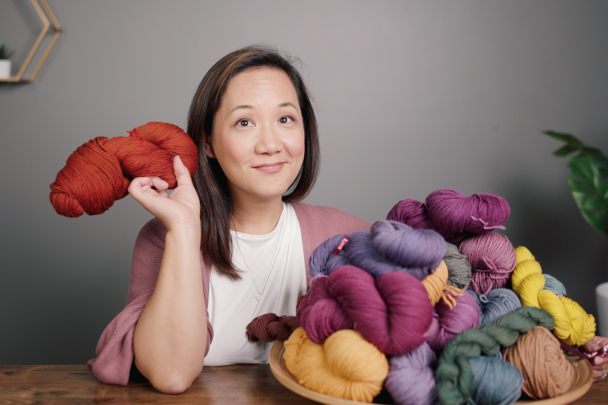Felicia Lo Wong and natural dyed yarns from the School of SweetGeorgia Natural Dyeing Study Group